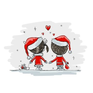 couple in love together, christmas illustration for your design, vector
